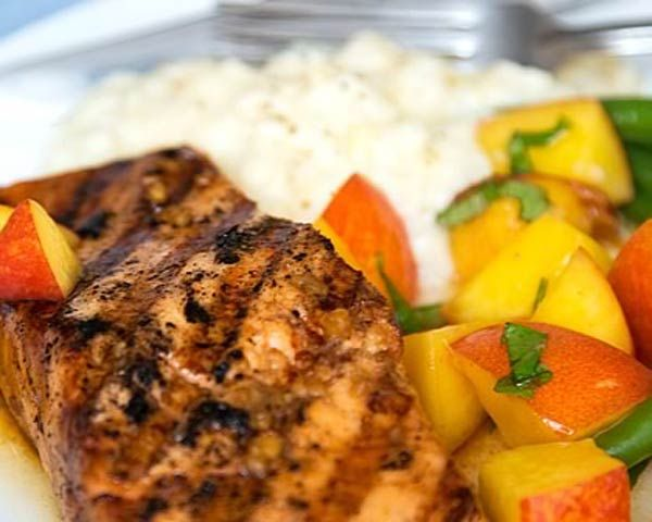 Barbecued Salmon with Fresh Corn Grits and Chipotle Nectarines