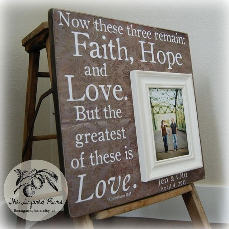 FAITH HOPE LOVE Personalized Picture Frames Wedding Gift Custom 16x16 ...
