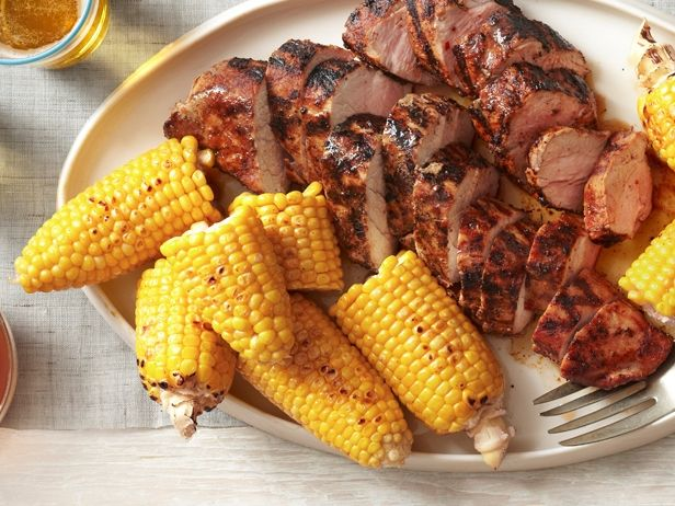 What's cooking? Grilled Pork Tenderloin with Corn on the Cob from #FNMag! #Grilling #Pork #CornOnTheCob