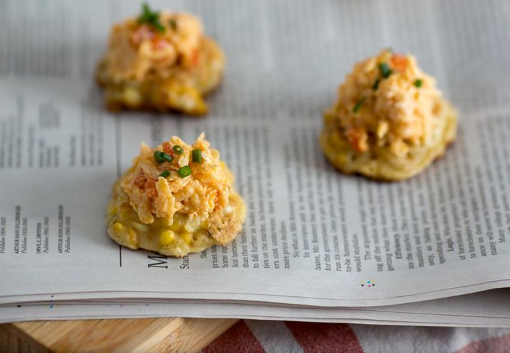 "... party"" every time. Grilled corn fritters with Jarlsberg pimento cheese"