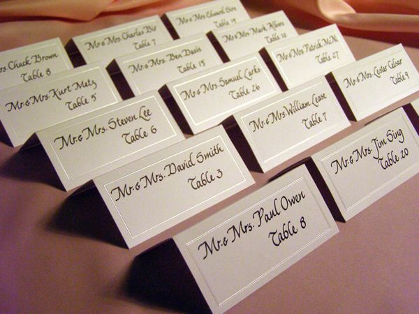 Wedding reception place cards wedding rehearsal pinterest for Place cards for wedding