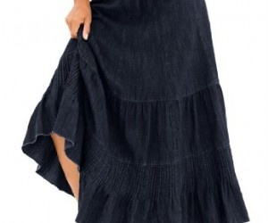Roamans Plus Size Provencial Denim Skirt (INDIGO DENIM,20 W