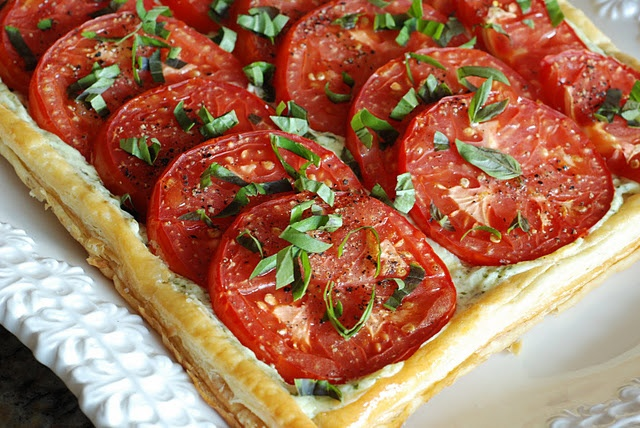 tomato basil tart (will try goat cheese in place of cream cheese)