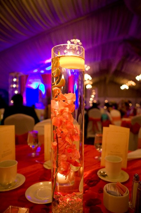 Tall glass cylinder centerpiece with light troi s sweet