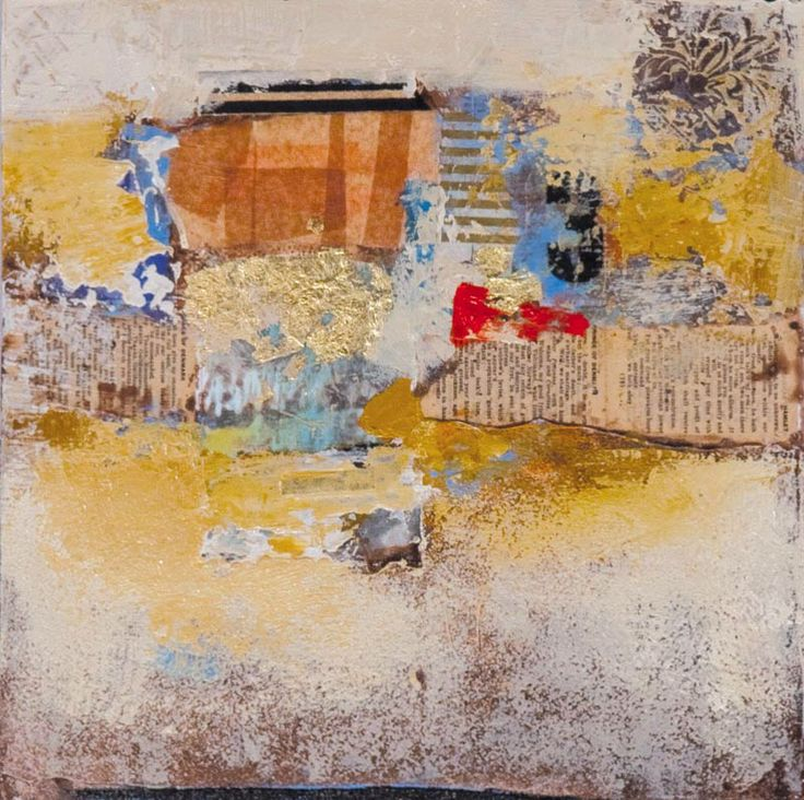 """Slightly Unhinged (Framed) by Sharon Booma - mixed media on board 21x21x3"""""""