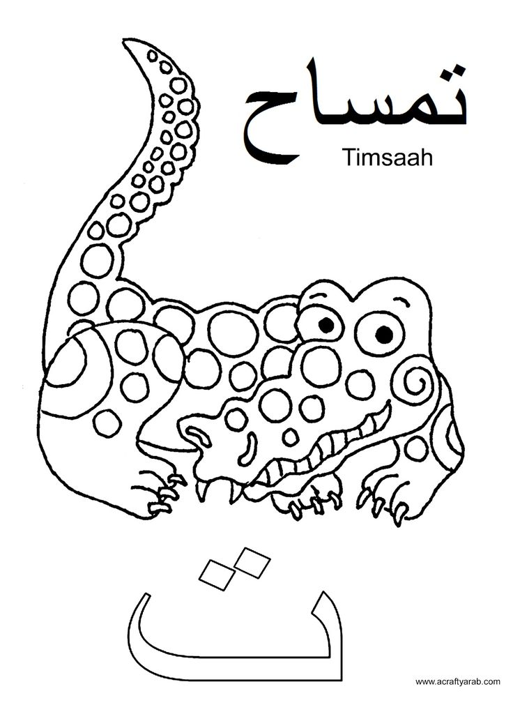 Ta is for Timsaah - free Arabic printable coloring pages