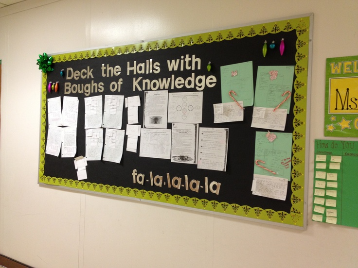 December bulletin board- Deck the Halls With Boughs of Knowledge