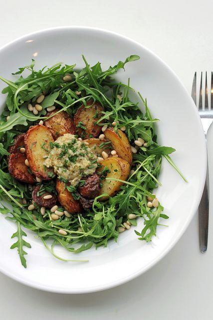 new potatoes, artichoke pesto, arugula   Nosh   Pinterest