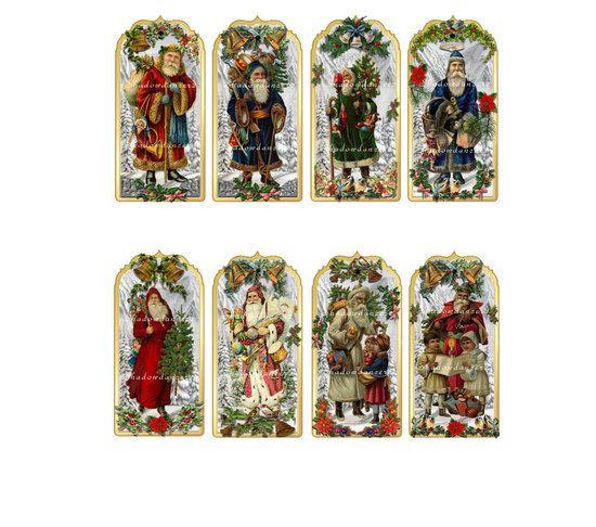Vintage Christmas Santa Labels Printable Digital Collage Sheet Images ...