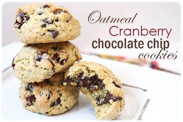 oatmeal cranberry chocolate chip cookies | recipes - cookies | Pinter ...