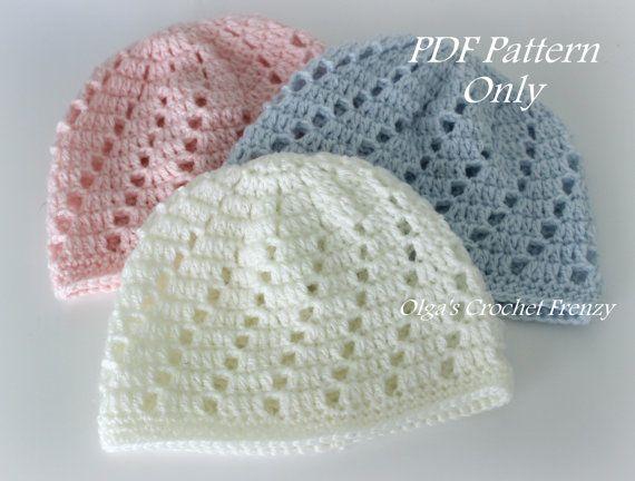 Crochet Baby Hat Patterns 0 3 Months : Baby Beanie Hat Crochet Pattern, Beginner Skill Level ...