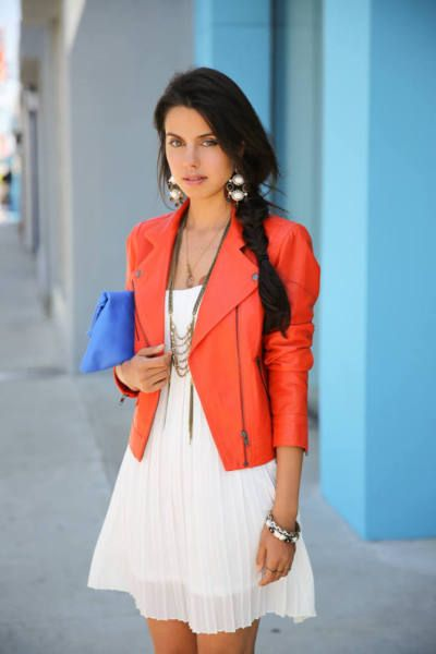 white dress + bright blazer.. would love to see a chunky turquoise necklace with this ensemble