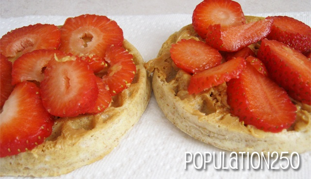 Peanut Butter & Strawberries on Whole Wheat Ego Waffles