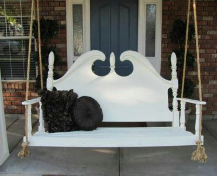Recycled headboard porch swing furniture pinterest for Recycled headboards