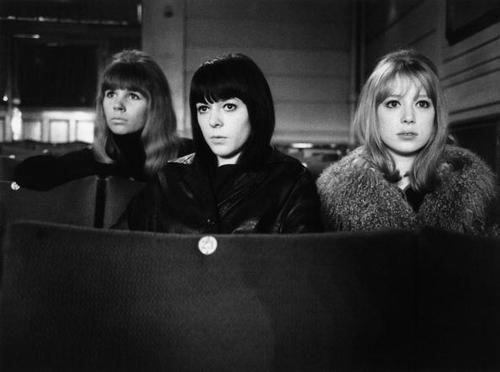 "Astrid Kirchherr, Maureen Cox, & Pattie Boyd on the set of ""A Hard Day's Night."""