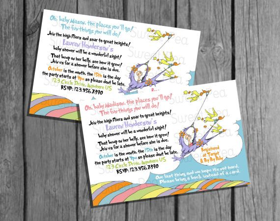 oh baby the places you 39 ll go dr suess baby shower invitation boy and