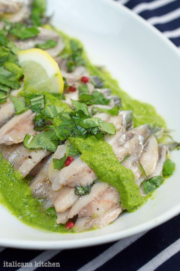 Marinated Anchovies with Arugula Pesto | Recipes | Pinterest