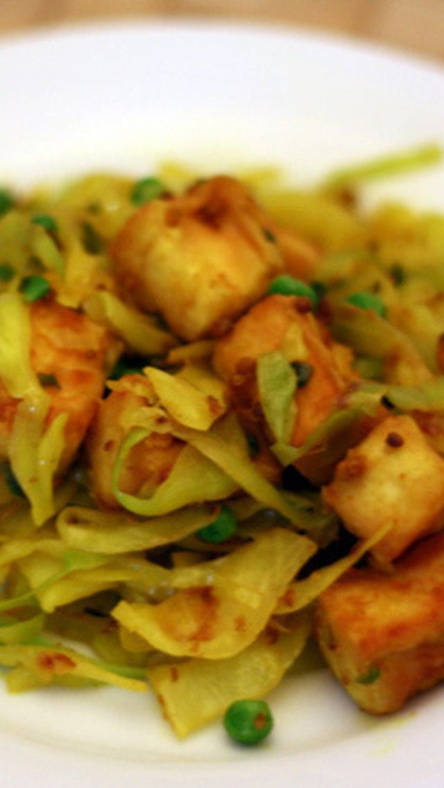 Dry-Cooked Cabbage with Tofu and Peas | Entrees (Vegan) | Pinterest