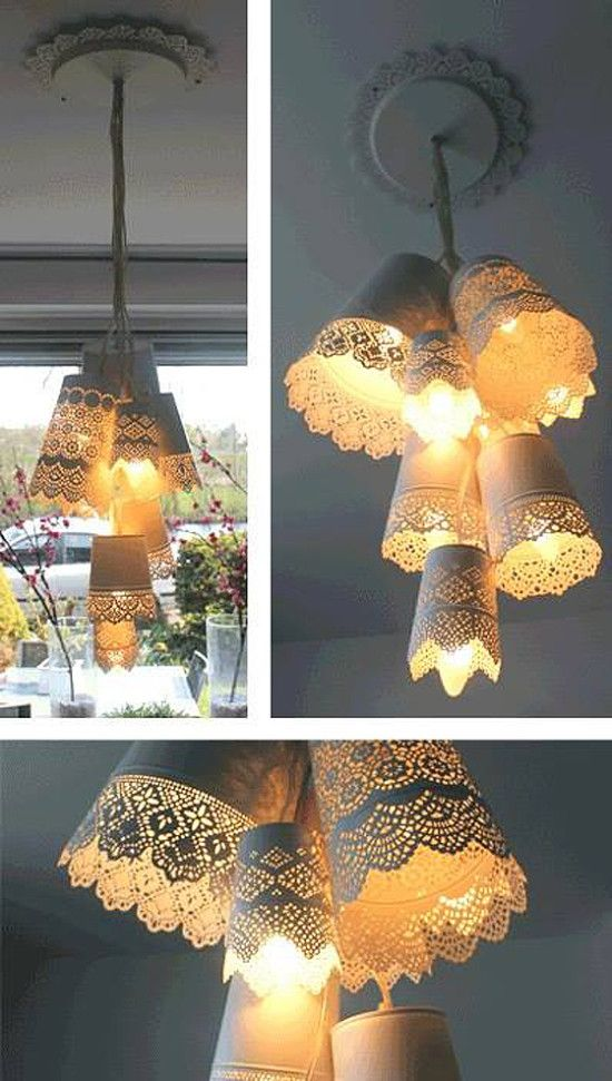 Crap picture but awesome idea - Flower pots lamp bundle - IKEA Hackers