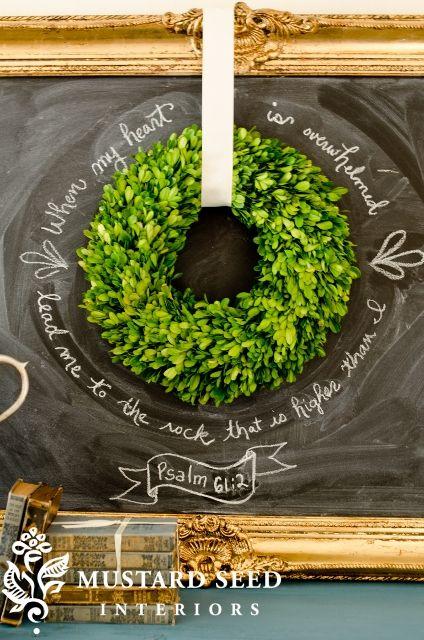 chalkboard and wreath