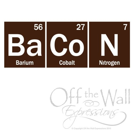Bacon Periodic Table Elements Decal, geekery science sticker, kitchen ...