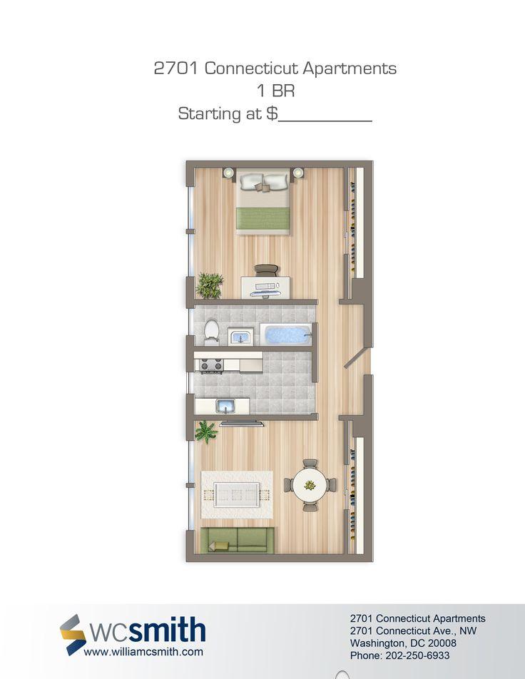 one bedroom floor plan 2701 connecticut apartments in northwest