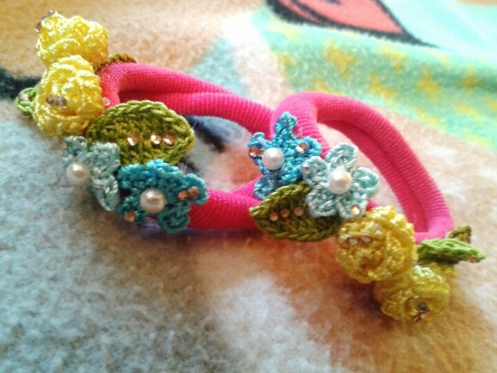 Crochet Hair Rubber Band : Hair accessory. Rubber band.. CROCHET JEWELRY Pinterest