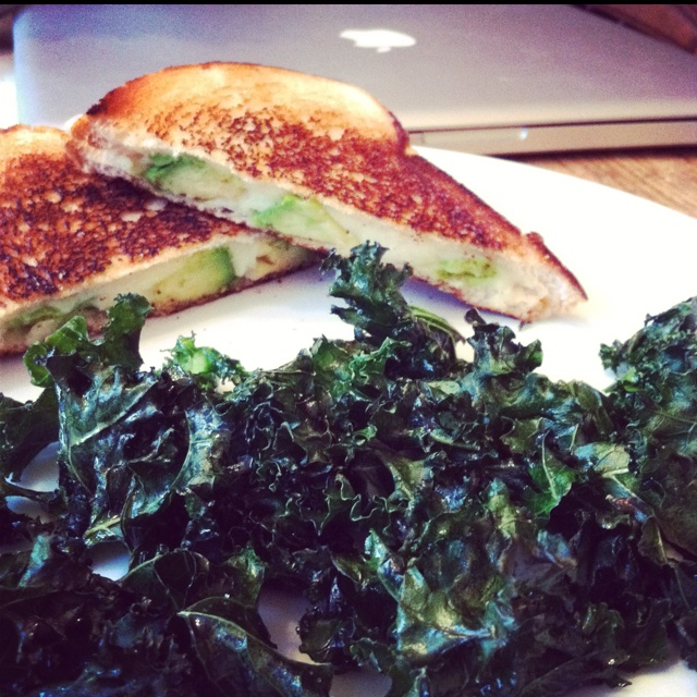 Soy grilled cheese and avocado sandwich with crispy kale chips for a ...