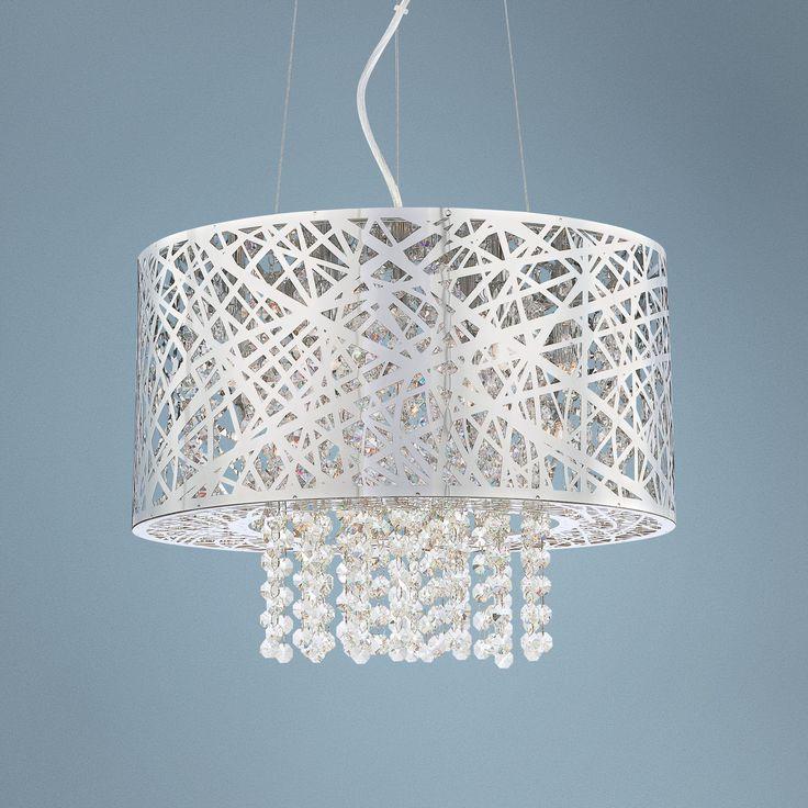 Possini Euro Design Chrome Nest with Crystal Pendant -