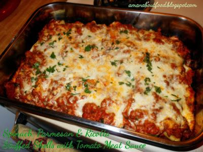 Spinach, Parmesan & Ricotta Stuffed Shells with Tomato Meat Sauce