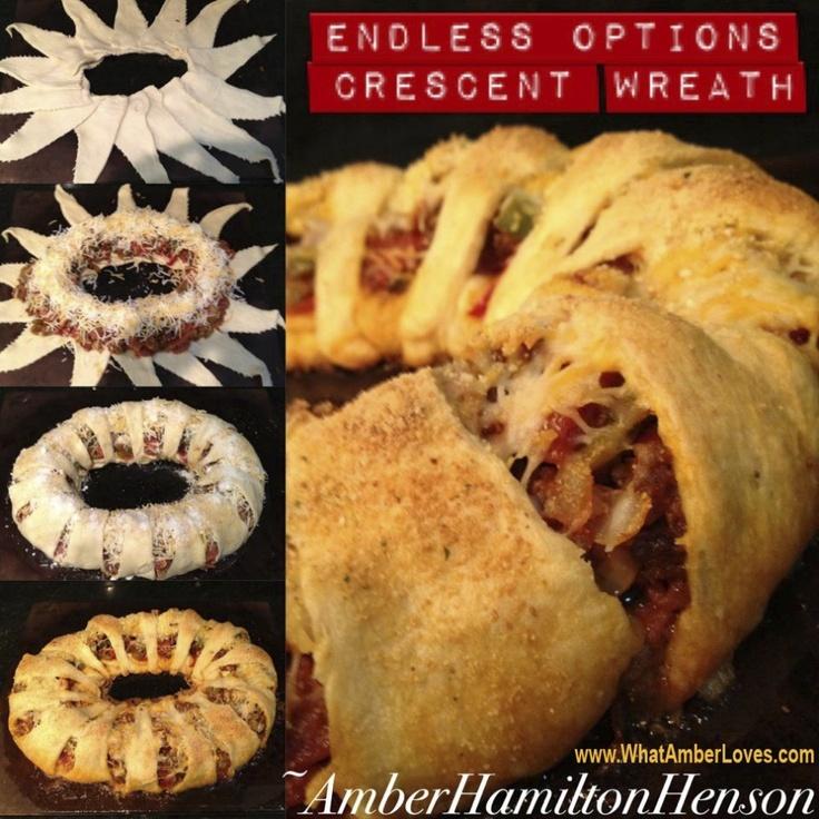 Crescent Roll Wreaths   finger food   Pinterest
