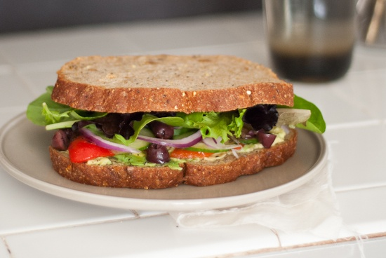 Greek Salad Sandwich with avocado, pesto, roasted red bell pepper ...