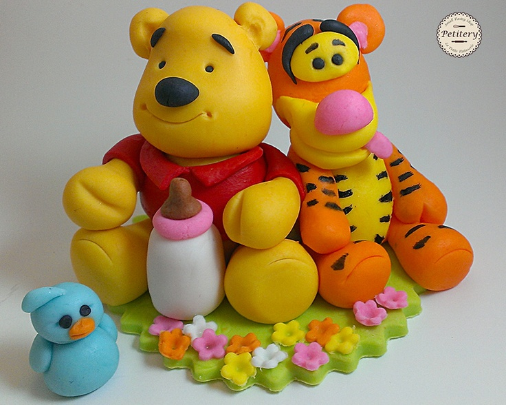 Baby winnie the pooh cake topper - made grom gumpaste