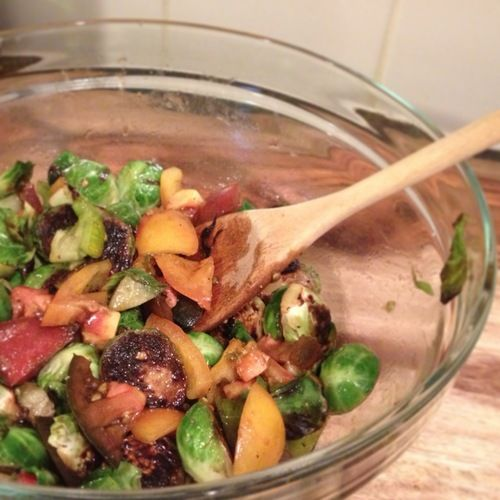 ... • Warm Heirloom Tomato & Brussels Sprout Salad with Crispy Polenta