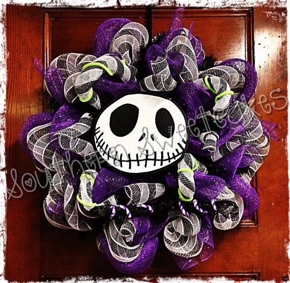 Nightmare Before Christmas Jack Skellington mesh Halloween Wreath on ...
