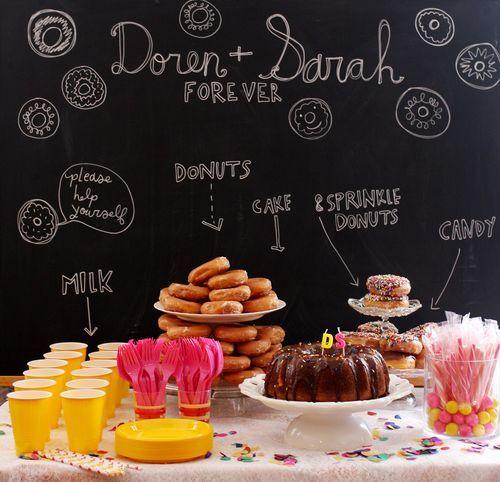 Doughnut shower via A Beautiful Mess blog. Pretty idea for Sunday School morning snack table.