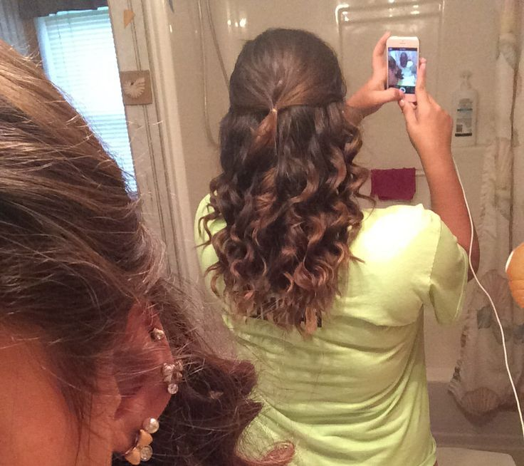 Pulled back and curled