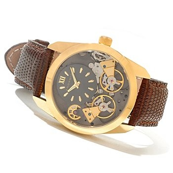 Android mens impetus double escapement automatic lizard strap watch