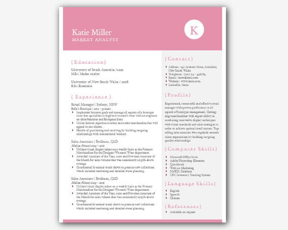 word elegant resume template