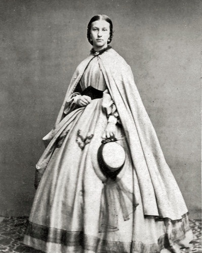 8 by 10 Civil War Photo Print Woman Lovely Dress, Cloak. Medici belt, nice hat