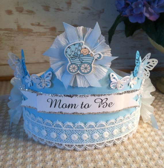 blue baby shower paper crown by oneheartcreations on etsy
