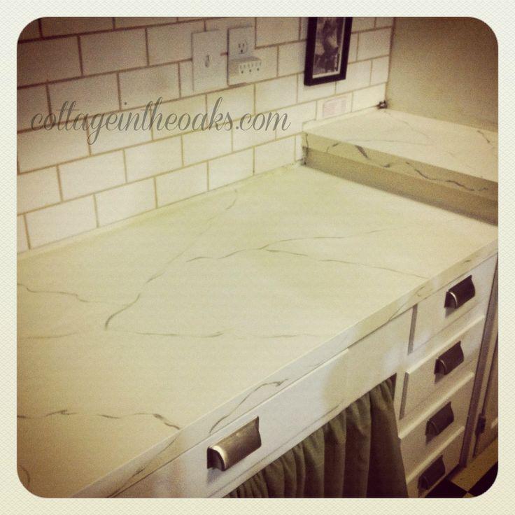 Carrara marble painted countertops #diy