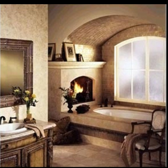 Luxury bathrooms with fireplaces for Bathrooms with fireplaces