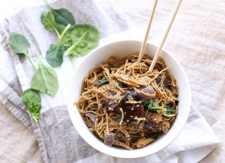 Sesame Soba Noodles With Shiitake Mushrooms and Spinach - One pot ...
