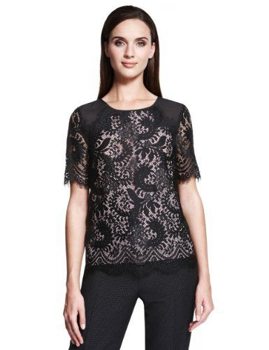 Autograph Contrast Floral Lace Top - Marks & Spencer