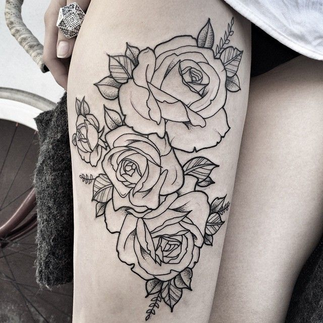 Rose outline tattoo thigh