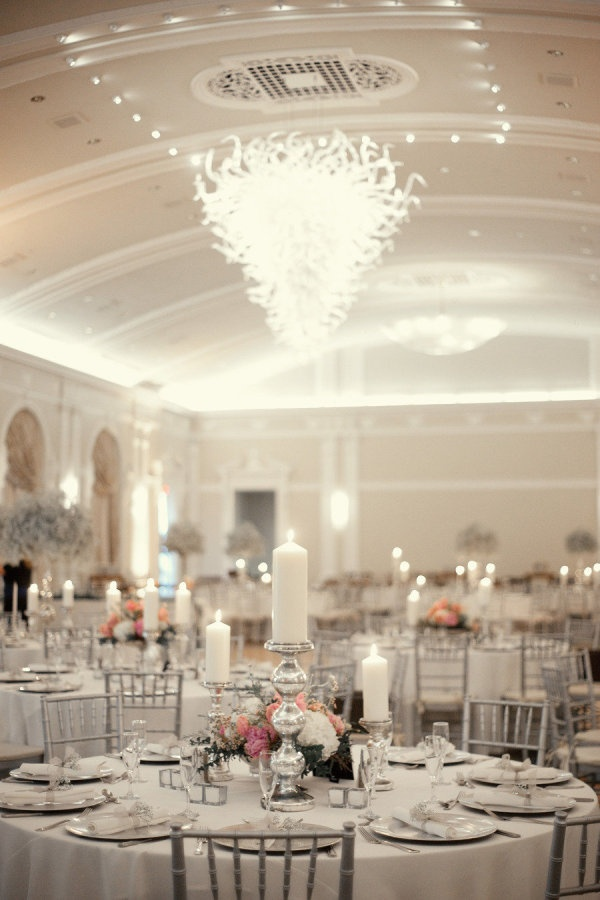 Candles and flowers for table centerpiece....Tampa Wedding from K & K Photography | Style Me Pretty