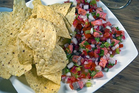 Salmon Ceviche - I did add chopped red bellpepper, 3 jalapenoes ...