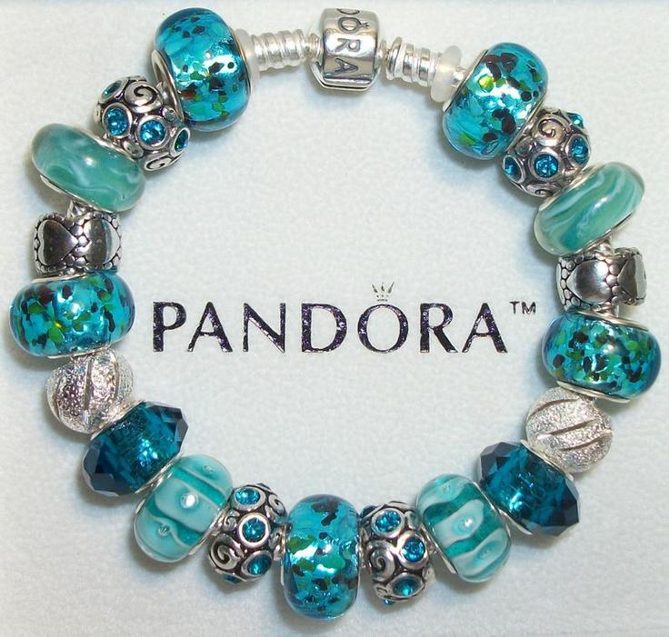 Aqua hearts authentic pandora bracelet any size amp gift box 19 beads