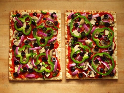 vegan pizza on california lavash flatbread with... | Garden of Vegan